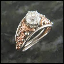 celtic rings custom european cut diamond celtic engagement ring in two tone
