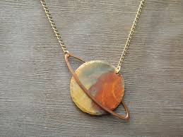 copper necklace pendant images Small saturn necklace capricorn necklace aquarius necklace jpg