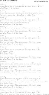 christmas carol song lyrics with chords for 12 days of christmas