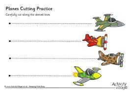 planes cutting practice pre k and kindergarten printables