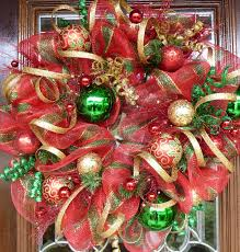 red gold and green deco mesh christmas wreath by decoglitz on etsy