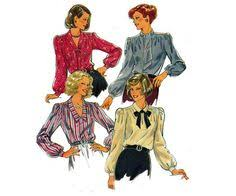 butterick 6817 womens wide collar blouse vintage sewing pattern