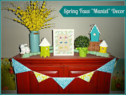 decorating welcome spring on our faux fireplace mantel the
