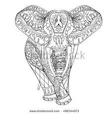 elephant ornament drawing by vector stock vector 346226447