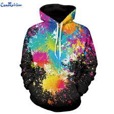 wholesale men women fashion hoodies 3d printing bright color
