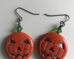 pumpkin earrings etsy