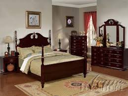 6 post bedroom set in cherry finish by acme