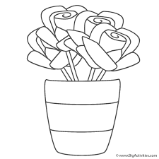 roses in vase with stripes coloring page mother u0027s day