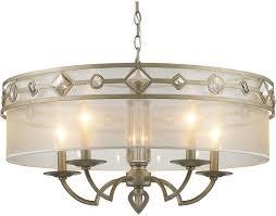 Drum Chandelier Lighting Golden Lighting 6390 5 Wg Coronada White Gold Drum Hanging Light