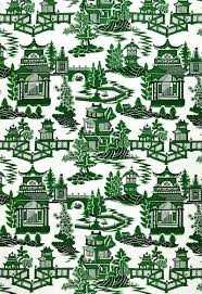 schumacher chinoiserie pagoda toile linen fabric 10 yards green