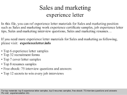 Sales And Marketing Resume Sales And Marketing Experience Letter 1 638 Jpg Cb U003d1408681846