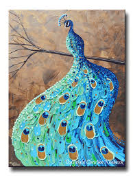 teal blue home decor giclee print art abstract peacock painting modern blue canvas