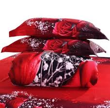 Red Duvet Set 3d Red Rose Printed Cotton Luxury 4 Piece Bedding Sets Duvet