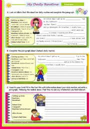 english worksheet writing series 19 my daily routine 2nd