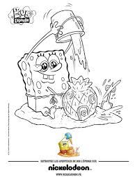 spongebob playing on the beach coloring pages hellokids com
