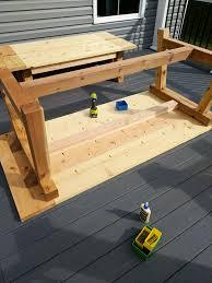 how to build a table base diy farmhouse table build truss beam table outdoor table