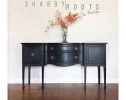 Black Hutch Buffet With Wood Top Buffet Sideboard Etsy