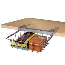 shop rubbermaid 11 75 in w x 4 in h wood 1 tier under shelf basket