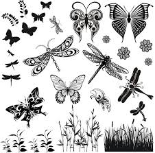 butterfly and dragonfly glass fusing decal sheet 10cm x 10cm low