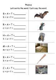 english worksheets phonics 3 letter words cvc writing at