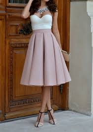 knee length skirt pink plain pleated skater flared vintage high waisted knee length