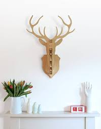 wooden stag wall wooden deer wall trophy by clive roddy notonthehighstreet