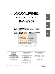download free pdf for alpine iva w205 car video manual