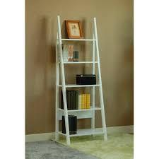 5 Tier Bookshelf Ladder Magari 5 Tier Corner Leaning Ladder Bookshelf White Walmart Com