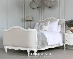 sophia louis xv linen upholstered bed antique white