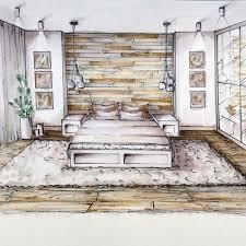 chambre en perspective tête de lit tapis chambre parents sketches