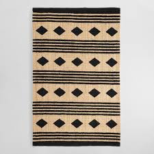 Jute Bathroom Rug 5 X8 Black And Geometric Chunky Jute Kaleb Area Rug World