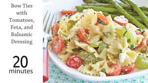 Cold Pasta Salad Dressing Bow Ties With Tomatoes Feta U0026 Balsamic Dressing Recipe Myrecipes