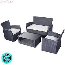skemidex 4pcs outdoor patio furniture set wicker garden lawn sofa