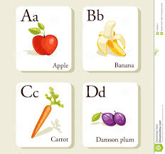 fruits and vegetables alphabet cards stock images image 17825644