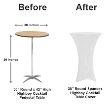 30 round pedestal table spandex table covers cocktail table cover rentals