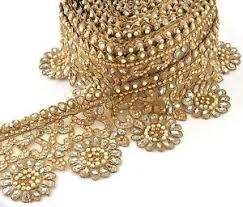 gold lace ribbon beaded bridal prom border 1 yd trim ribbon golden lace