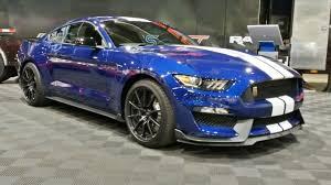 Blue Mustang Black Stripes 2017 Ford Shelby Gt350 Grabber Blue Front Three Quarter 2015