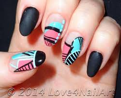 love4nailart spring time geometric oval acrylic nails re creation