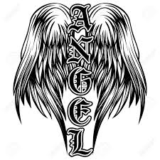 abstract vector illustration black and white wings and inscription