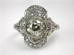 art deco three stone diamond ring rings pinterest