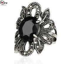 aliexpress buy mens rings black precious stones real aliexpress buy rock ring jewelry silver restoring