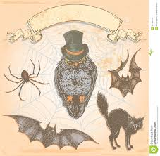 vector hand drawn halloween set vintage illustration stock