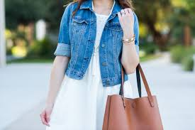 cream eyelet dress denim jacket miss louie