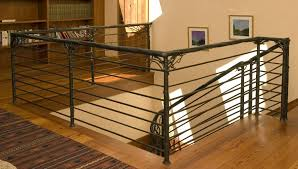 metal landing banister and railing vine and branch ornamental iron stair rail