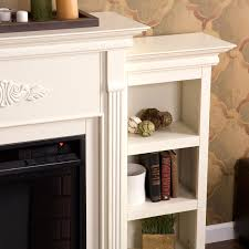 tennyson ivory electric fireplace with bookcases southern