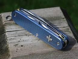 personalized swiss army knife custom alox blue textured titanium tinker swiss army knife