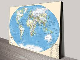 Large World Map Canvas by Vintage U0026 Modern Map Art Pictures On Canvas Print Australia