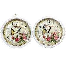 home decoration vintage style shabby chic white metal wall clock