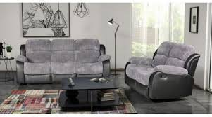 Recliner Sofa Suite Cambridge Fabric Recliner Sofa Suite Black And Grey High Quality