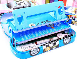 pencil box small car style 3 layers iron pencil with bookshelf kawaii